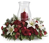 Christmas Centerpiece - Oval w/ Hurricane *Deluxe* from Boulevard Florist Wholesale Market