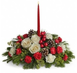 Pre-Made Round Christmas Centerpiece with Candle from Boulevard Florist Wholesale Market