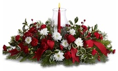 Christmas Centerpiece - Long & Low with Hurricane Globe from Boulevard Florist Wholesale Market