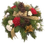 Pre-Made Round Christmas Centerpiece from Boulevard Florist Wholesale Market