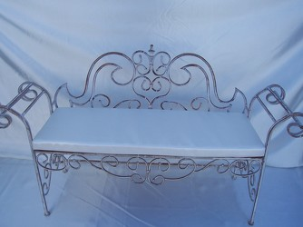 Rental White Metal Bench  from Boulevard Florist Wholesale Market
