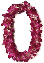 Lei - Dendrobium Orchid - Double Purple from Boulevard Florist Wholesale Market