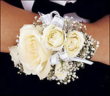 White Ice Roses Wristlet from Boulevard Florist Wholesale Market