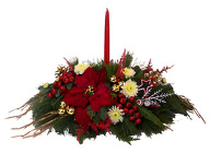 Christmas Centerpiece - Long & Low with 1 Candle from Boulevard Florist Wholesale Market